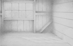 Under The Loft, 2011, 25 x 40 cm, graphite on Stonehenge paper